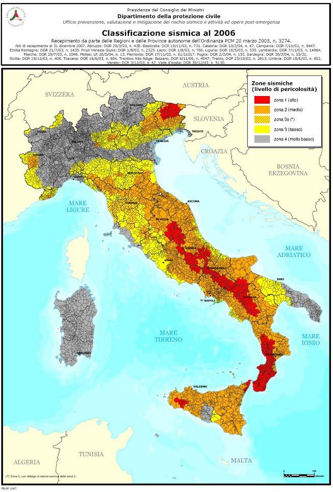 Classificazione sismica al 2006