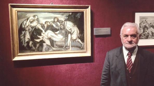 Francesco Rossini e la «Deposizione del Cristo nel Sepolcro», nella sala espositiva (sezione: tema religioso) delle Scuderie Imperiali