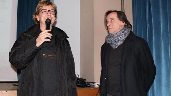 Lieta Valotti durante l'anteprima  del film a  Borgo Trento insieme al regista  Roberto Orazi