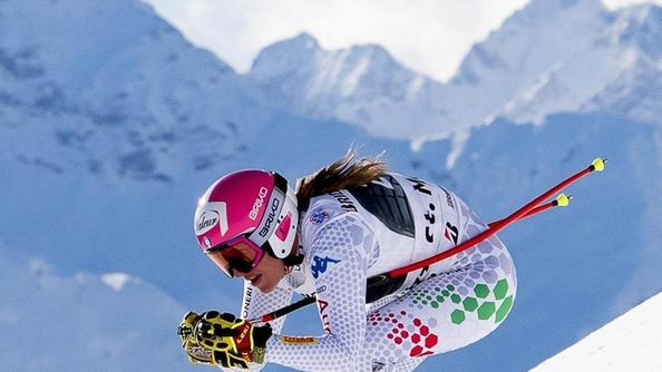 Nadia Fanchini impegnata nel SuperG di Saint Moritz